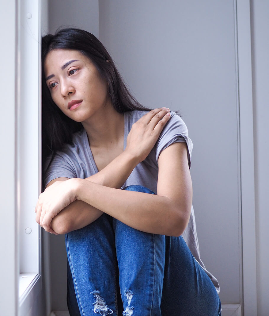 Sad asian woman leaning against wall. Dealing with substance abuse and addictions is complex. Often when you're struggling getting treatment for mental health disorders and substance abuse help is necessary. Gain support in counseling for substance abuse in RIverside, Berwyn, Chicago, and anywhere in the state via online therapy in Illinois. Get in touch soon!